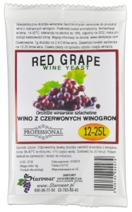 WINE YEAST RED GRAPE  - Drożdże winiarskie do wina z czerwonych winogron